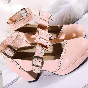 Cute double straps bow shoes