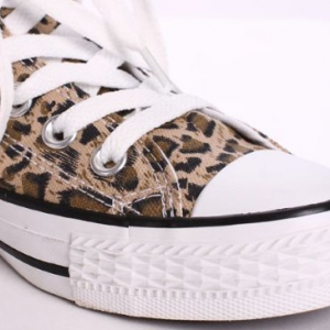 Leopard Print Canvas Lace-Up Sneake..