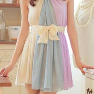 Color Block Belted Bow Sleeveless P..