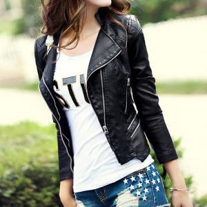 Black Quilted Slim Fit Cropped Moto..
