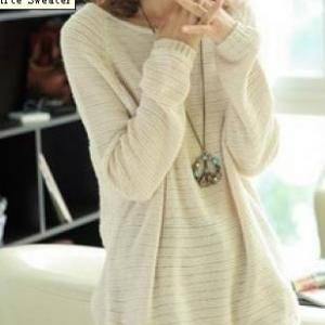 Beige Loose Bat Sleeve Hollow Sweat..