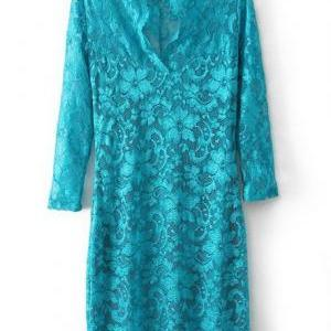 Sexy V Neck Lace Sleeve Dress - Gre..