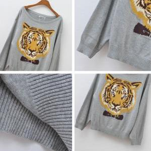 Nice Gray Tiger Head Sleeve Sweater..