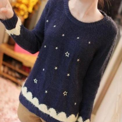Cute Long Sleeve O-Neck Pullover Po..