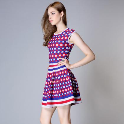 Chess hit color large swing dress