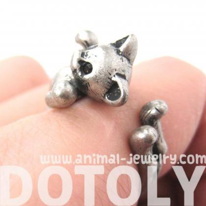 3D Two Tailed Kitty Cat Animal Ring..