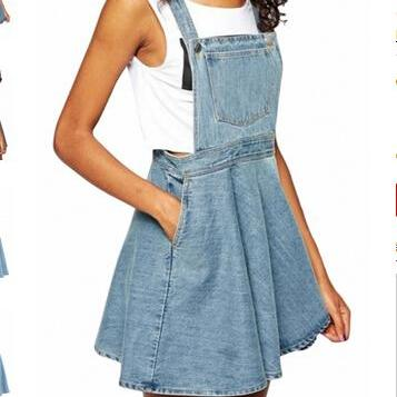 Azure Blue Denim Suspender Dress