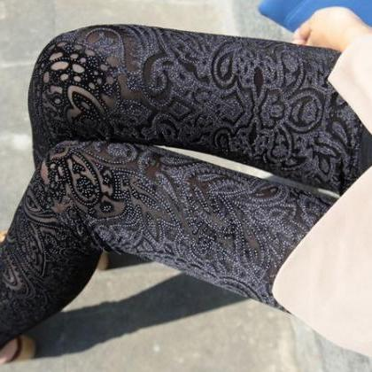 Velvet Leggings Pants Tights Hollow..
