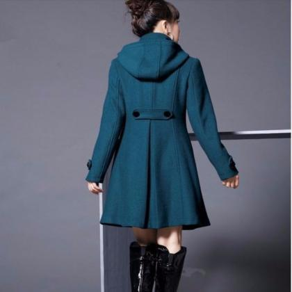 Turtleneck Buttoned Hooded Trench C..