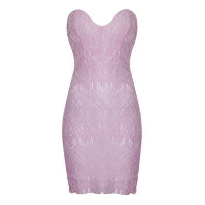Tight Strapless Pink Dress Qw912Ef