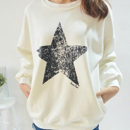 Leisure Simple Star Long Sleeve War..