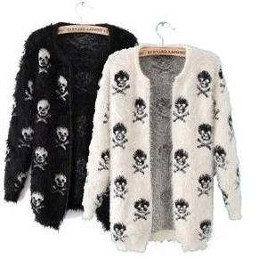Skull Pattern Haimao Cardigan Sweat..
