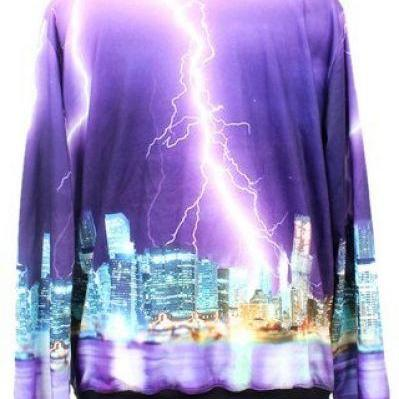 Purple Long Sleeve Lightning City P..