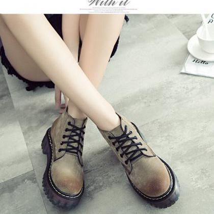 Round Toe Lace-up Flat Platform Ank..