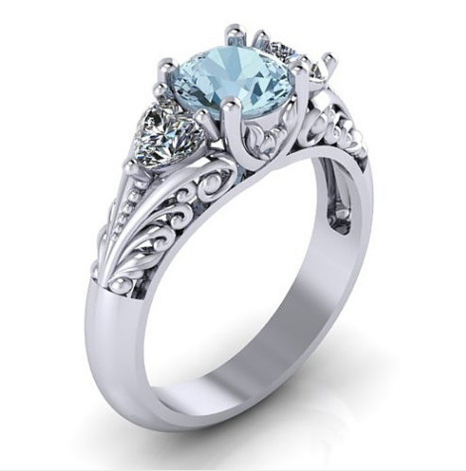SJ-CY052Luxury Women Geometric Ring Fashion White Gold plated Jewelry Vintage Wedding Ring Set Engagement Ring