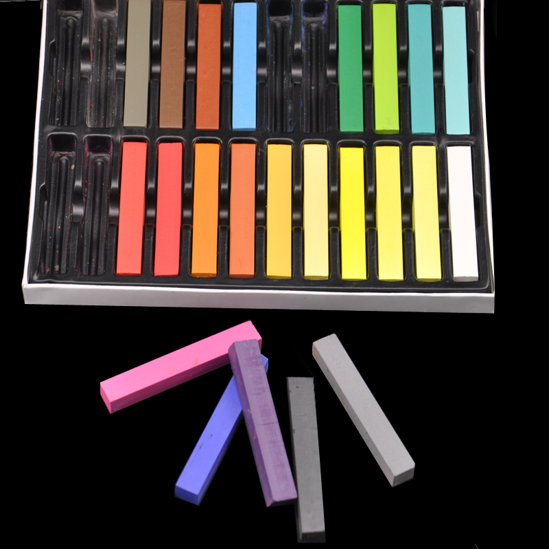 24 Colors Chalk Pastel Stick Vermicelli Chalk Powder Brush Hair Chalk
