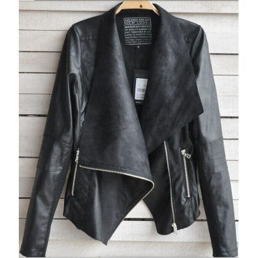 Casual Punk Style Turndown Collar Three Quarter Sleeves Zipper Designed Black Regular Leather