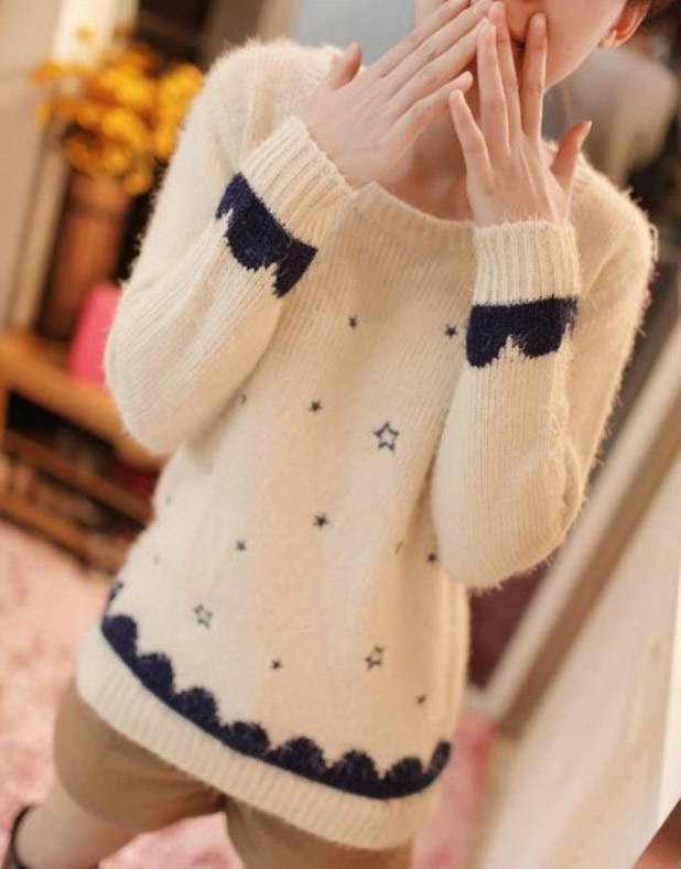 Cute Long Sleeve O-Neck Pullover Polyester Plain Womens Sweaters