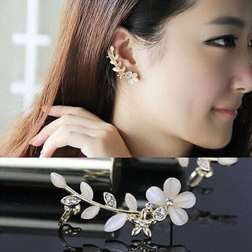 Women Fashion Flower Shape Rhinestone Left Ear Cuff Clip Golden Stud Earring