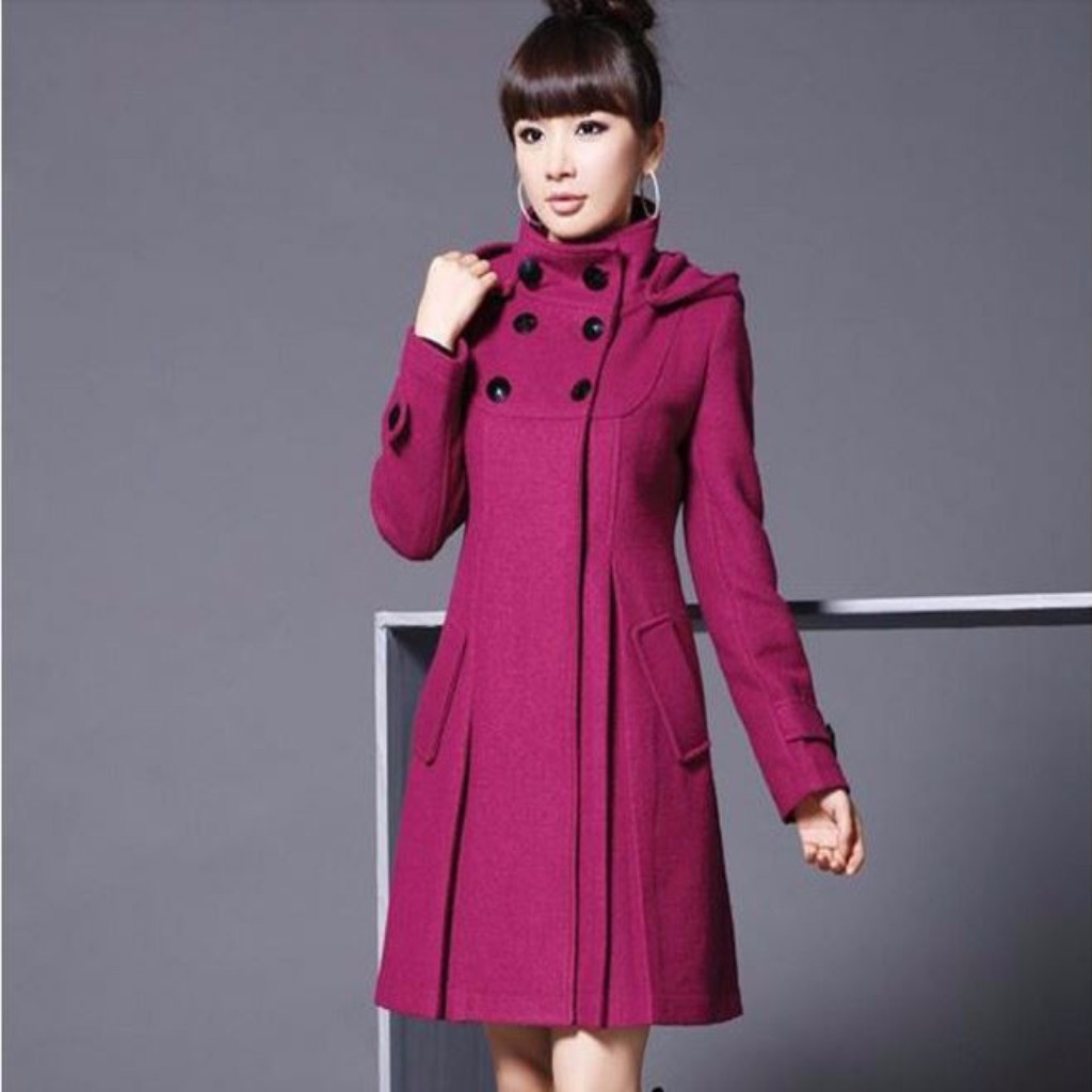 Turtleneck Buttoned Hooded Trench Coat