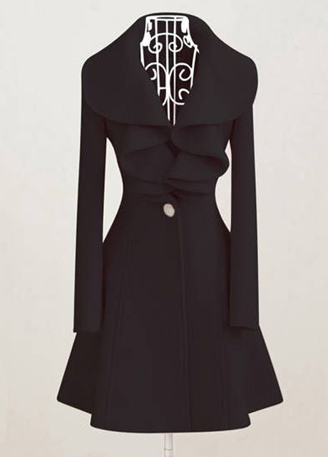 Vogue Turndown Collar Black Button Fly Warm Coat