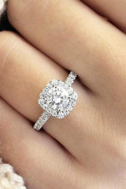 SJ-CY246Luxury Women Geometric Ring Fashion White Gold plated Jewelry Vintage Wedding Ring Set Engagement Ring