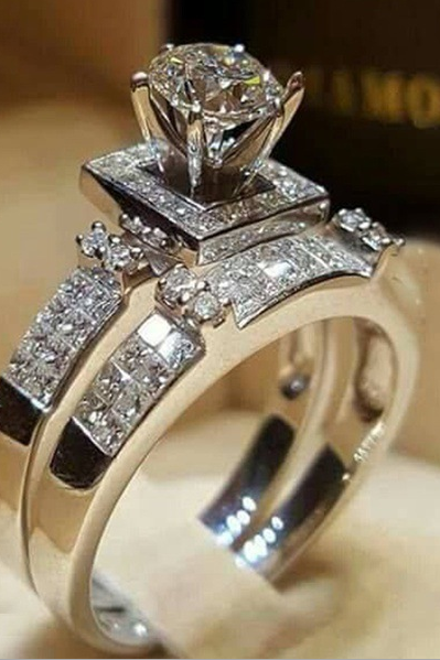 SJ-CY226Luxury Women Geometric Ring Fashion White Gold plated Jewelry Vintage Wedding Ring Set Engagement Ring