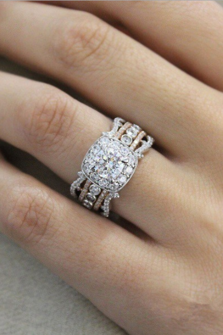 SJ-CY241Luxury Women Geometric Ring Fashion White Gold plated Jewelry Vintage Wedding Ring Set Engagement Ring