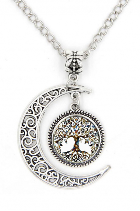Punk style Metal Life Tree Glass Pendant & Meniscus Necklace
