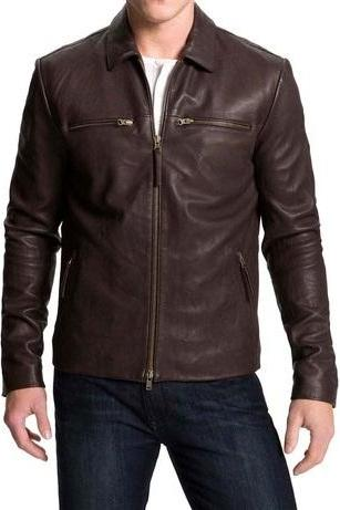 Handmade Mens Biker Leather Jacket Mens Brown Color Fashion Leather Jacket
