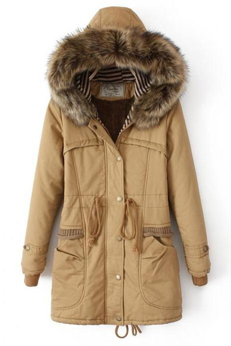 Cotton-Padded Clothes Slim Fur Collar Coat