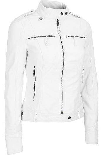 Women White Leather Jacket Women Biker Leather Jack