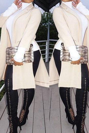 Fashion Beige Long Sleeve Double Slit Trench Coat