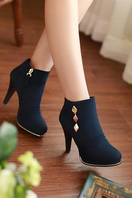 Cute Rivet Design Deep Blue High Heel Boots