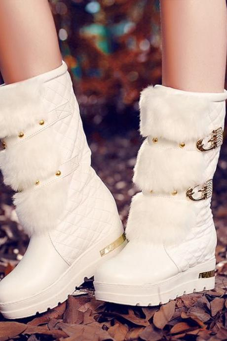 Studded White Faux Fur Design Winter Boots