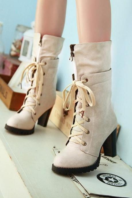 Classy Lace Up Front Zip Chunky Heel Fashion Boots