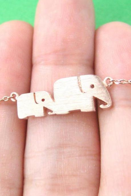 Elephant Family Shaped Animal Silhouette Charm Necklace In Rose Gold