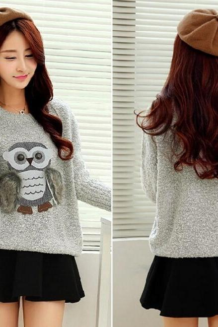 Cute Little Owl Pullover Warm Sweater