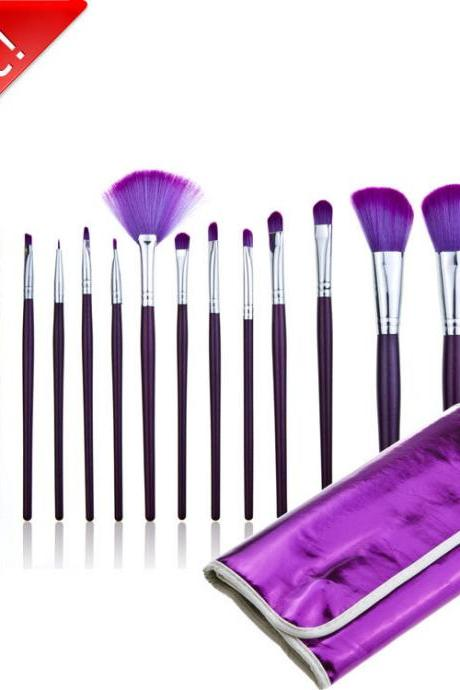 Good Quality 16Pcs Professional Cosmetic Makeup Brushes Set With Leather Bag - Purple I4UNFHZD7GA7QRGAEVL49 8FJ4CVI6G9N