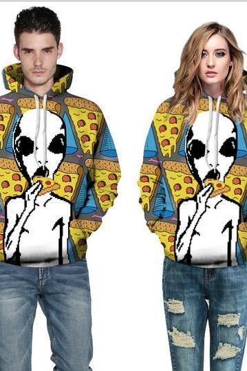 Free shipping Aliens eat pizza hoodie sweater #366