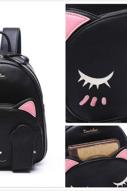Free shipping cat embroidered backpack #405