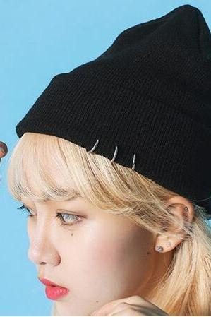 Free shipping Harajuku Style Beanies Women Knitted hat cap with Rings#297