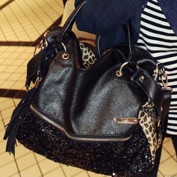 Tassels With Sequined Leopard Print Handbag