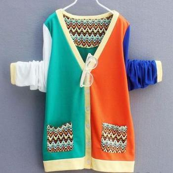 Fashion Deep V-neck Asymmetric Mixing Color Cardigan