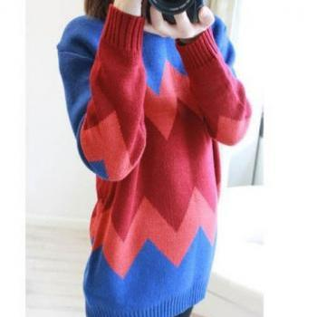 Vintage Geometric Texture Slim Sweater