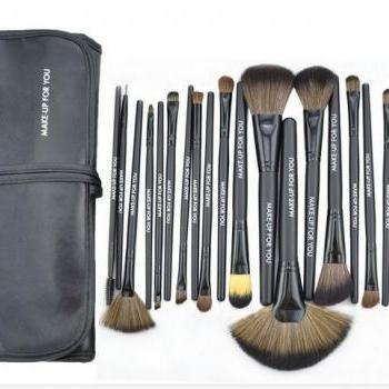 24 Pcs/Set Makeup Brush Cosmetic Set Kit Packed In High Quality Leather Case - Black