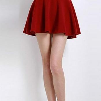 Red Elasticised Waist Short Gathered Skirt