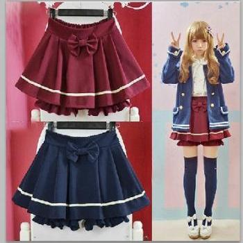 Cute Lolita Bow Shorts Fake Skirt Style. Two Colors Available