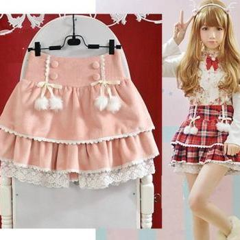 Cute Lolita Bow Lace Shorts Fake Skirt Style. Two Colors Available