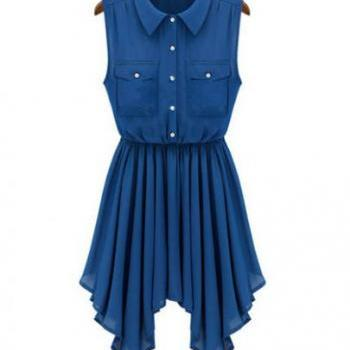 Blue Sleeveless Label Asymmetrical Dress